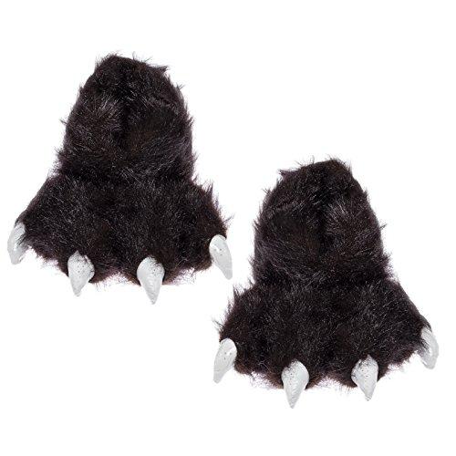 Wishpets Bear Animal Paw Slippers w/White Claws (Black, M)
