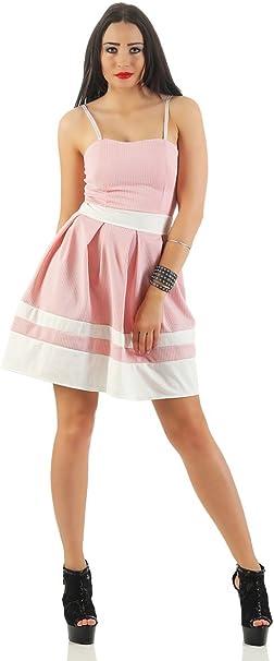Damen Glockenrock Sommer Party Minikleid A-Linie V-Ausschnitt 36 38 altrosa