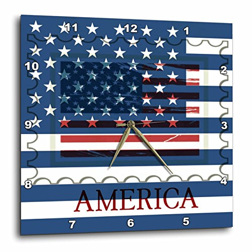 American Flag Stamp - USA - Patriotic - Wall Clock