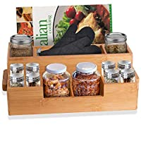 Bamboo Utensil Holder Wooden Caddy Set Plus 2 Spice Jars, Silverware Flatware Beer Tray For Spoons Knives Forks Napkins Chopsticks Condiments 10 Compartment Coffee Breakroom Kitchen Organizer Home