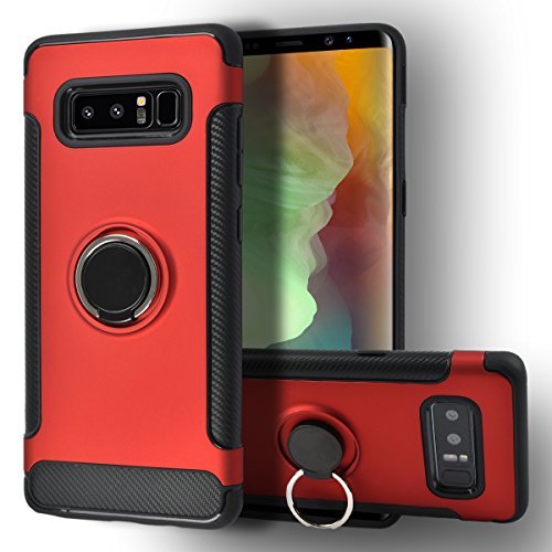 - Galaxy Note 8 Case [Jimmy Bumper Series] Ring Holder Kickstand Function [360 Degree Rotating Ring ] Grip Case Ultra Slim Thin Hard, compatible with car mount Samsung galaxy Note 8 Cover (Red)