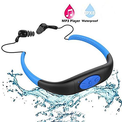 Waterproof MP3 PlayerIPX8 Waterproof Headphones for SwimmingWork for 6-8 Hours Underwater 10 Feet Underwater Audio waterproof earbuds4GB Memorywith Shuffle Feature