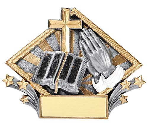 Express Medals 7.5 x 6 Inch Diamond Religious Plaque Trophy Award with Engraved Personalized 1-Pack (Diamond Resin Trophy)
