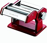Ovente Stainless Steel Pasta Maker, Includes Hand Crank, Adjustable Countertop Clamp, and Double Pasta Cutter Attachment, 180mm, Vintage Style, 7-Position Dial, Metallic Red (PA518R)