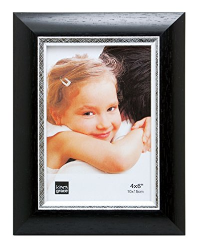 Kiera Grace Karla Picture Frame, 4  by  6 Inch, Black with Brushed Silver Line