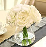 Decor Artificial Flowers Real Touch Silk Flowers Floral Latex Real Touch Rose Peony Wedding Bouquet Home Party Design Flowers (White,1 Bunch)