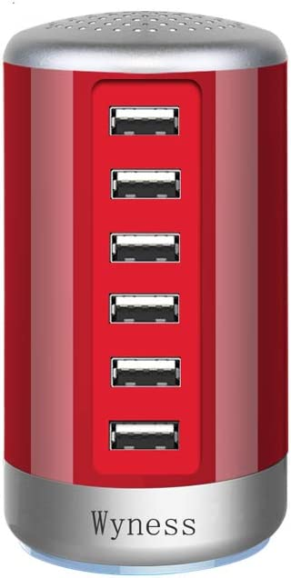 6 Ports Desktop Charging Station,USB Hub Fsat Wall Charger,Compatible with Cell Phones, Smart Phones, Tablets, and Other Electronics (Red)