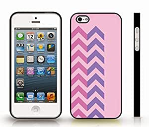 Case For HTC One M8 Cover with Chevron Pattern Light Pink/ Hot Pink Stripe , Snap-on Cover, Hard Carrying Case (Black)
