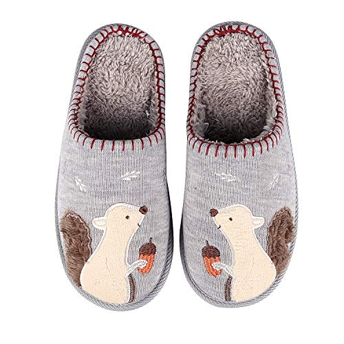 Animal Memory Foam House Slippers Cute Squirrel Indoor Slippers w/Soft Waterproof Sole Fuzzy Clog Slippers R-S Beige