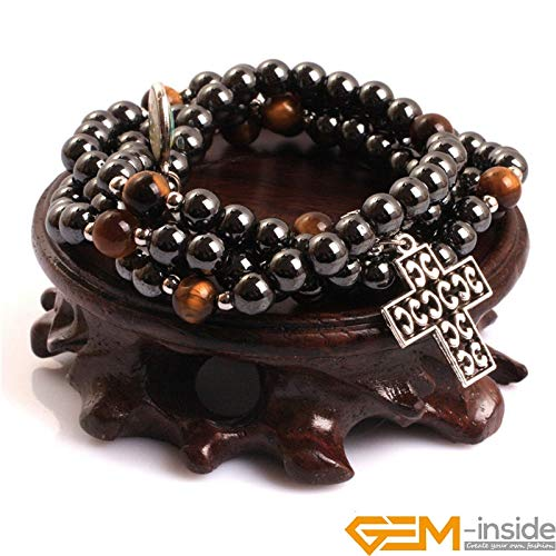 Hematite Magnetic & Tiger Eye Stone Beads Therapy Healing Stone Cross Bracelets | Catholic Prayer Rosary Bracelets (6mm, 8mm) ()