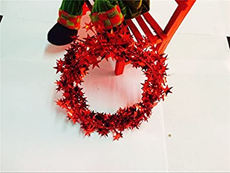Kdskdd approx m feet red star tinsel garland christmas