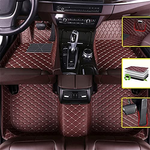 Vonzasi Custom Diamond Car Floor Mats fit for Dodge Nitro 2007-2011 Luxury PU Leather All Weather Protection Floor Liners Full Car Mats with Pockets (Coffee Color)