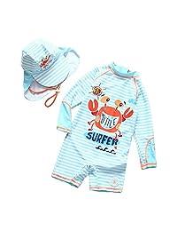 Achiyi Baby Toddler Boys Stripe Swimsuit One Piece Surfing Suits UPF50+ Sun Protection Beach Swimwear Rash Guard