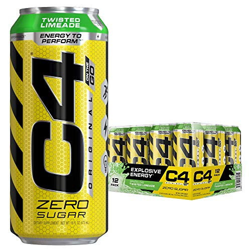 Cellucor C4 Original Carbonated Zero Sugar Energy Drink, Pre Workout Drink + Beta Alanine, Sparkling Twisted Limeade, 16 Fluid Ounce Cans (Pack of 12 in 1 box)