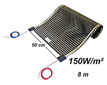 calefacci/ón por suelo radiante 50/cm Set 150/W//M/²// longitud 1-8/m Calorique l/áminas de calefacci/ón por infrarrojos 230 volt