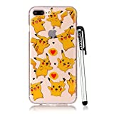 pokemon protective phone case - iPhone 8 Plus Case Clear, iPhone 7 Plus Case, Qiyuxow Slim Fit Soft Bright Art Printed Transparent TPU Gel Silicone Case Protective Cover for iPhone 8 Plus 5.5 inch iPhone 7 Plus (Pokemon)