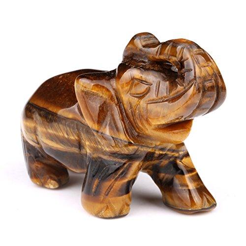 Amulet Eye Tiger (Lucky Elephant Evil Eye Protection and Good Luck Amulet Tiger Eye Gemstone Carving)