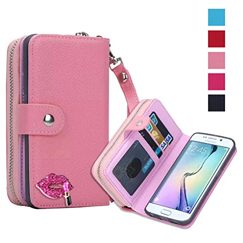 Just Mode(TM)New Top Quality Zipper Leather Wallet Purse Case Shell Protective with Stand Flip Cover & Wrist Strap & Diamond Lips for Samsung Galaxy S6 ()