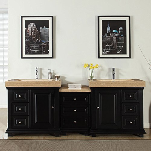 Silkroad Exclusive Bathroom Double Vanity Travertine Top Integrated Stone Sink Cabinet, 90'' by Silkroad Exclusive