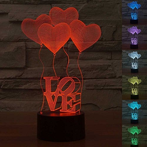 3D LED Love Heart Night Light Touch Desk Lamp,3D Optical Illusion Lighting 7 Colors Change LED Table Lamp Battery/USB Powered Home Decor Lamp Gift for Kids Christmas (4LOVE) from AMZSTAR