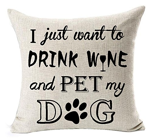 Best Dog Lover Gifts Nordic Sweet Funny Sayings I Just Want to Drink Wine and Pet My Dog Paw Prints Cotton Linen Throw Pillow Case