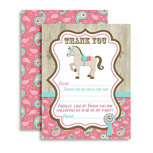 Show Horse Themed Thank You Notes for Kids, Ten 4