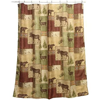 Amazon.com: Bacova Guild Mountain Lodge Fabric Shower Curtain: Home ...