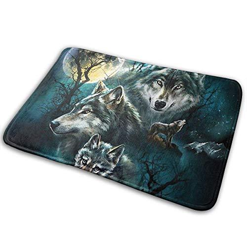 """CAOBOO doormats, Outdoor Door Mat, Kitchen Bathroom Floor Carpet Mat, Three Wolves Home Kitchen Bathroom Outdoor Entrance Non-Slip Novelty Cute Funny 23.6""""x15.7"""""""