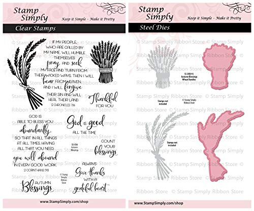 Stamp Simply Clear Stamps Autumn Blessings Thanksgiving Thankful Fall Christian Religious and Wheat Bundles Die (2-Pack) 4x6 Inch Sheet - 9 Pieces