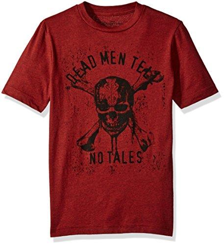 Disney Big Boys' Pirates of the Caribbean T-Shirt, Brick Black Heather, L (Pirate Apparel)