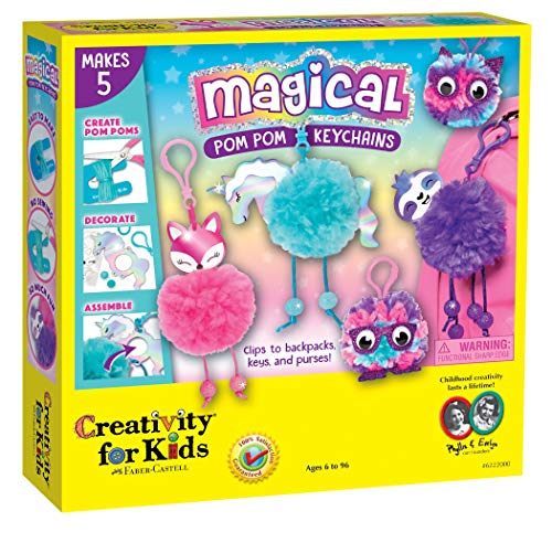 Creativity for Kids Magical Pom Pom Keychains Craft Kit - Create 5 Backpack - Kit Keychain Craft