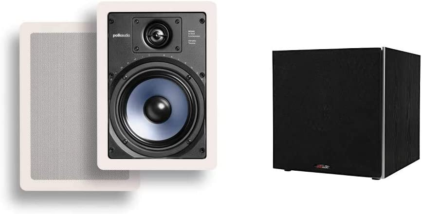 "Polk Audio RC65i 2-Way Premium in-Wall 6.5"" Speakers & Audio PSW10 10"" Powered Subwoofer - Featuring High Current Amp and Low-Pass Filter 