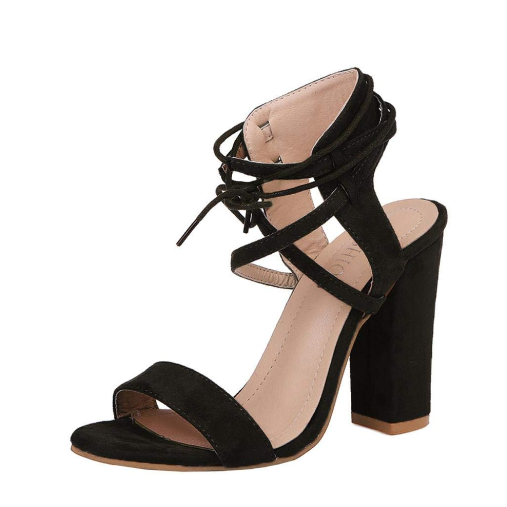 Lady Sandals Womens Ladies Block High Heel Sandals Black Solid Color Lace Up Dinner Party Office Business Workplace Casual Wild Stylish Basic Shoes