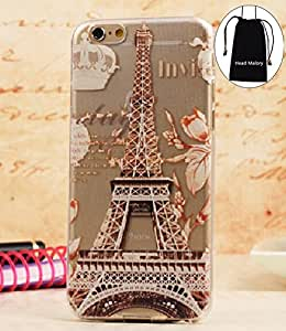 """Famous Paris Eiffel Tower Apple iPhone 6 Plus Thinnest Soft TPU Slim Fit Skin Below Case Cover for 5.5"""""""" Inches Iphone 6 Plus with Clear Frame"""
