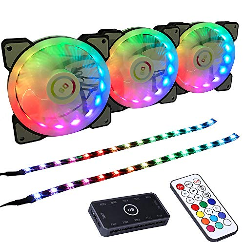 LEDdess 1800RPM RGB LED 120mm Case Fan with Controller for PC Cases, CPU Cooler, Water Cooling System (3pcs RGB Fans, 2pcs led Strips, 3rd Gen RF Remote Control, A Series)]()