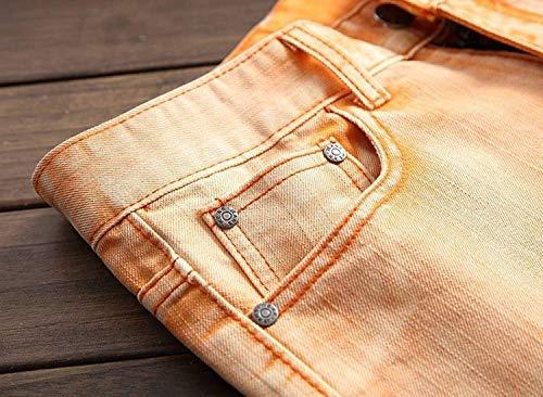 Pantalones Correa Jeans Sin Recta Motocicleta Casuales Rasgados Hombres Pantalones Hombres Naranja Vaqueros Media Ropa Rotos ADELINA Destruidos Cintura 6zqawzZ