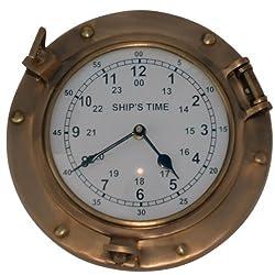 Nagina International Antique Brass Nautical Porthole Clock with Franklin Murphy's Analog Beautiful Clock Face Maritime Decor (Antique Brass)
