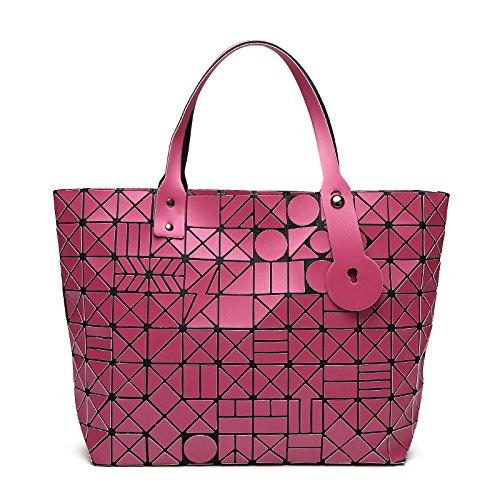 XZWSJB Borse Da Donna Borse Pieghevoli Borse Laser Geometriche Shopping Messenger Bag Rosered