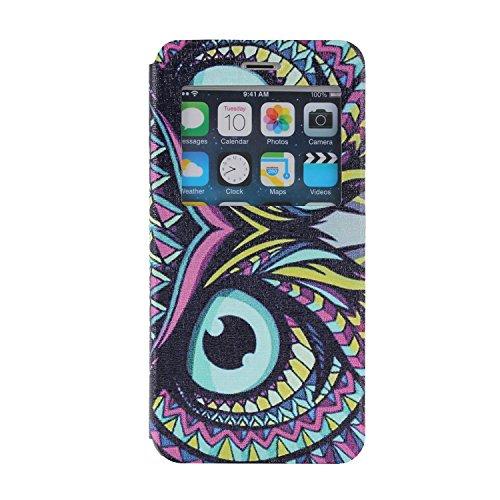MOONCASE iPhone 6Plus Case Slim Window View Design Leder Tasche Flip Schutzhülle Etui Case Cover Hülle Schale für Apple iPhone 6 / 6S Plus (5.5 inch) XB19