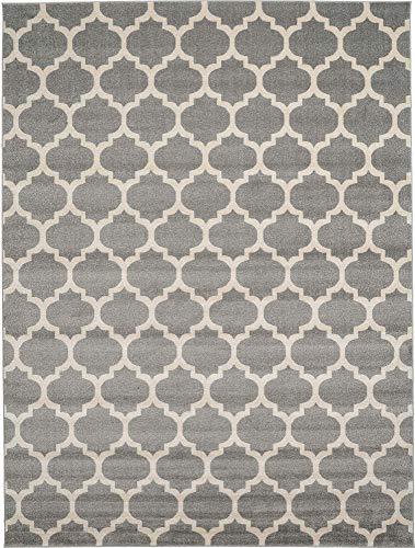 Unique Loom Trellis Collection Moroccan Lattice Dark Gray Area Rug (9' 0 x 12' 0)