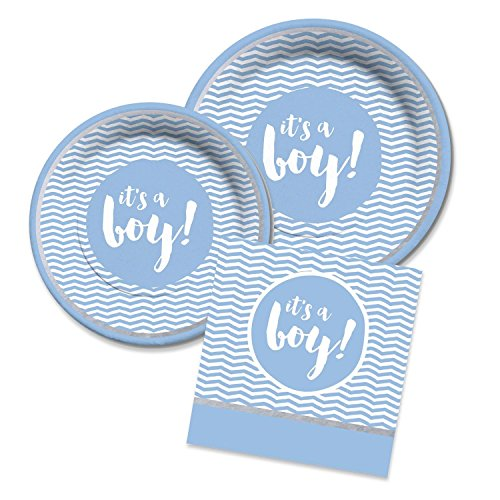 Blue Garland Dinner Plate - Baby Boy Shower Blue and Silver Party Supplies