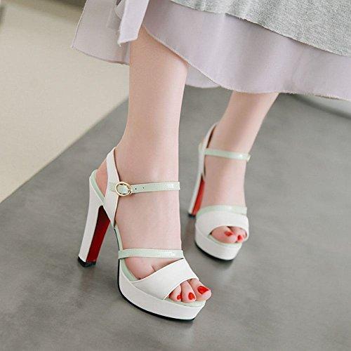 Mee Shoes Damen High Heels Open Toe Zweifarbig Pumps Grün