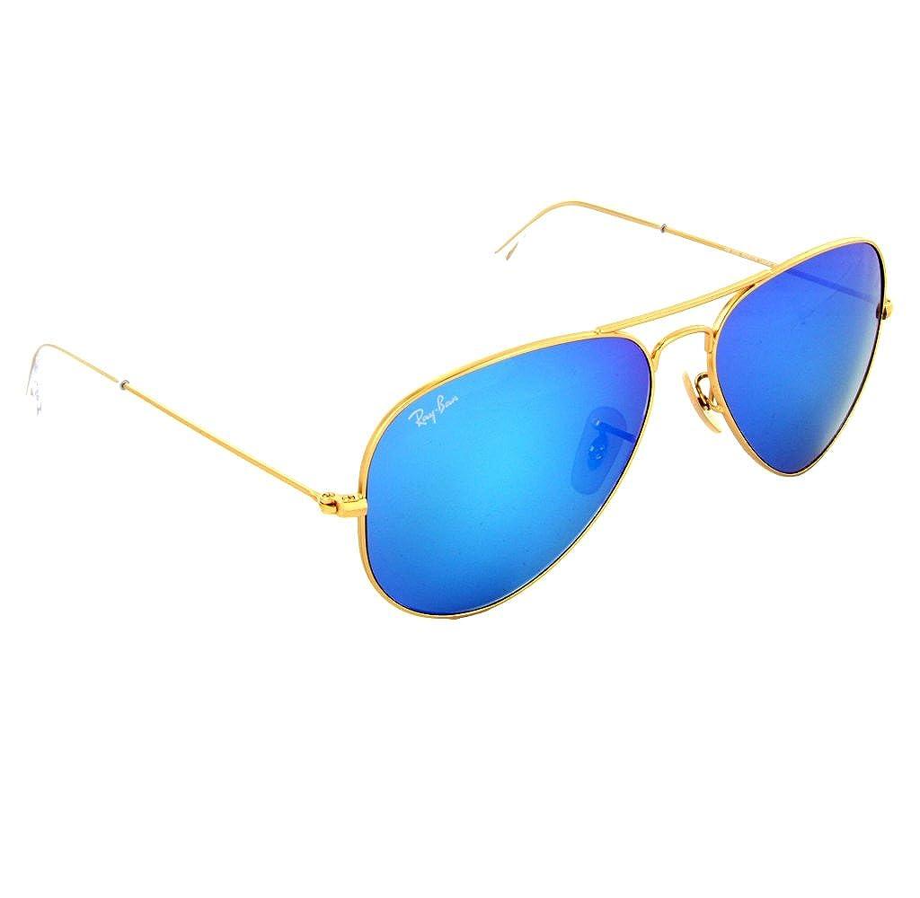3f8d6e4e20e Amazon.com  Ray Ban - RB3025 112 17 Aviator Blue Flash Lenses  Clothing