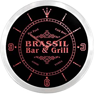 ncu05194-r BRASSIL Family Name Bar & Grill Cold Beer Neon Sign LED Wall Clock