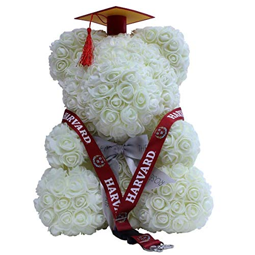 - White Rose Bear Teddy Bear Cub Forever Artificial Roses with Colored Cap & Tassel w/Free Harvard UC Licensed Lanyard Graduation Class of 2019 for University College High School Celebration Gifts