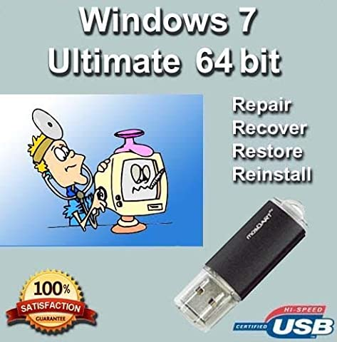 Windows 7 Ultimate 64-Bit Install | Boot | Recovery | Restore USB Flash Drive Disk Perfect for Install or Reinstall of (Window Ultimate 7)