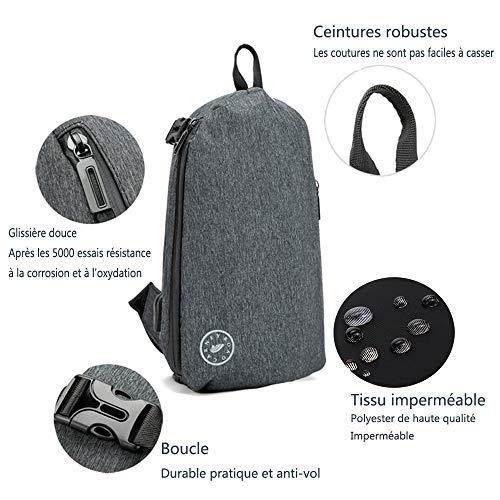 bolso y con puerto hebillas Negro hombre pecho bolso gran de ligera con ajustable la capacidad de ocasional hombros antirrobo orificio de USB diaria Poleonmor vida Negro mantado en muy de audifonos xAq78XwnR