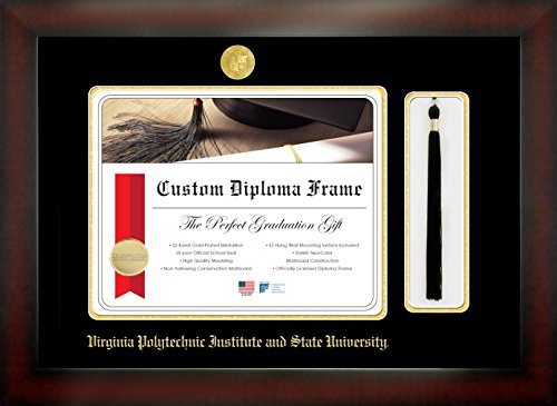Celebration Frames Virginia Polytechnic Institute and State University 13½ x 15½ Mahogany Finish Infinity Diploma Frame with Tassel Box