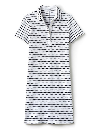 Lacoste Women's Women's Striped Polo Dress 100% Cotton White