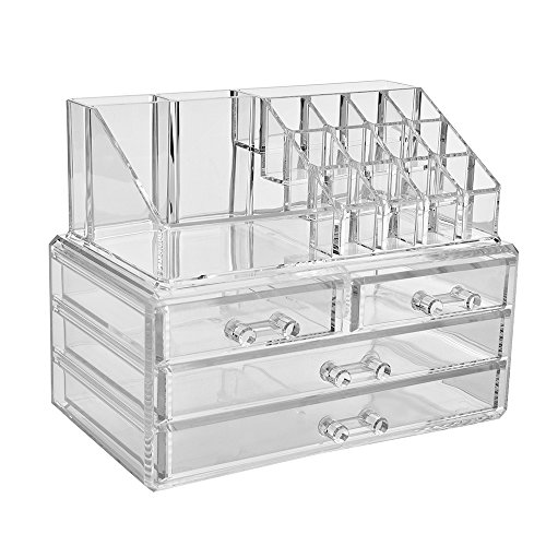 Jewelry and Cosmetic Storage Boxes with Brush Holder with 4 Drawer 2 Pieces Set -